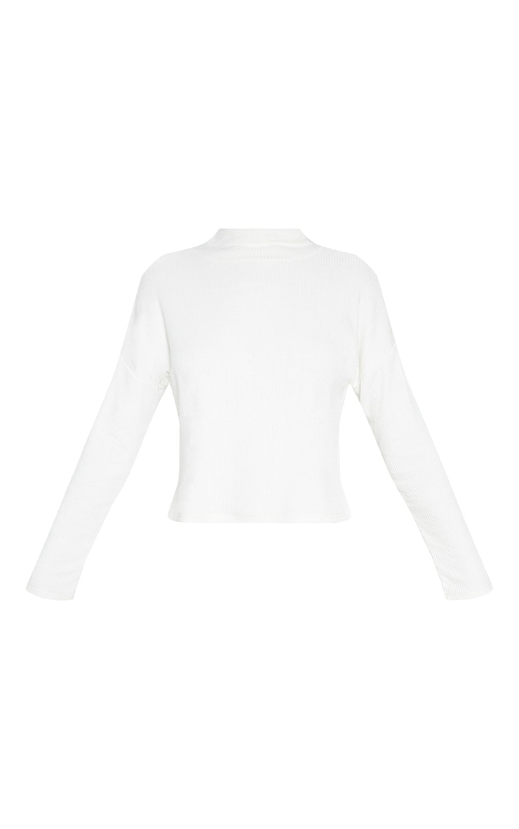 White Brushed Rib High Neck Long Sleeve Top 3