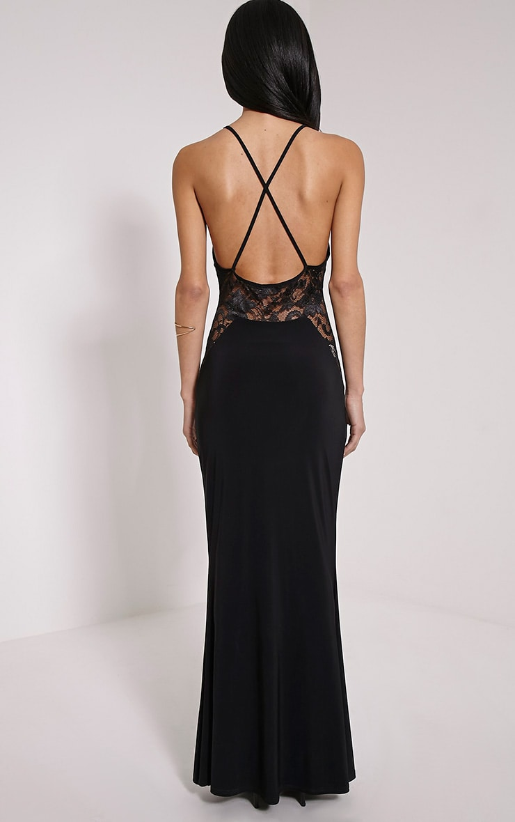 Lina Black Lace Insert Maxi Dress 2