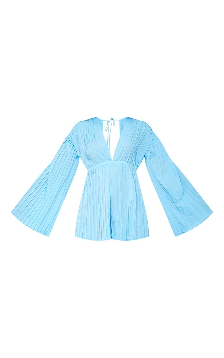 Bright Blue Plunge Pleated Playsuit 5
