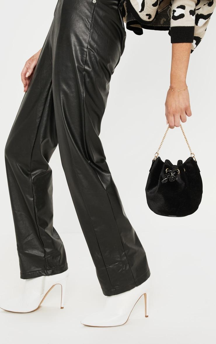 Black Crushed Velvet Mini Duffle Bag 1