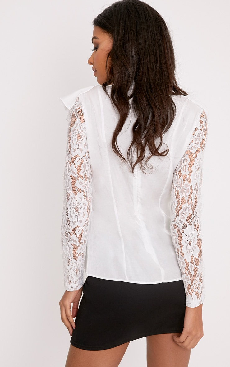 Becki White Ruffle Lace Sleeve High Neck Blouse 2