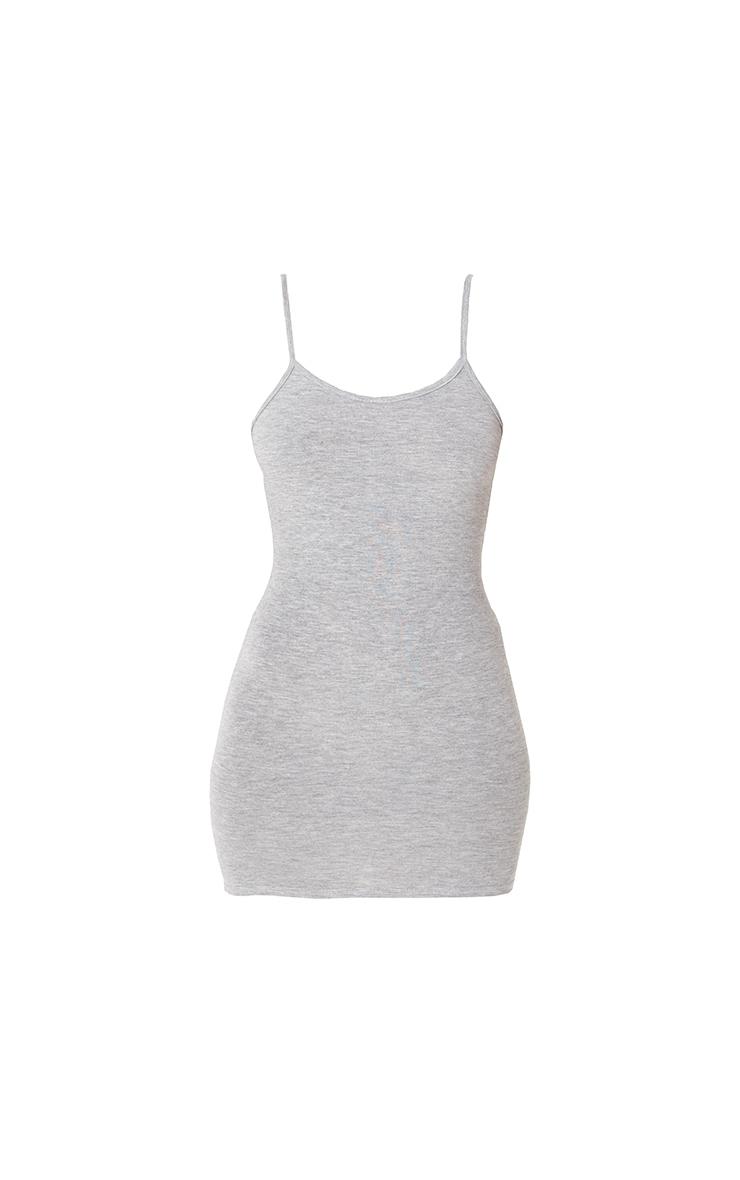 Basic Grey Marl Strappy Scoop Neck Bodycon Dress 6
