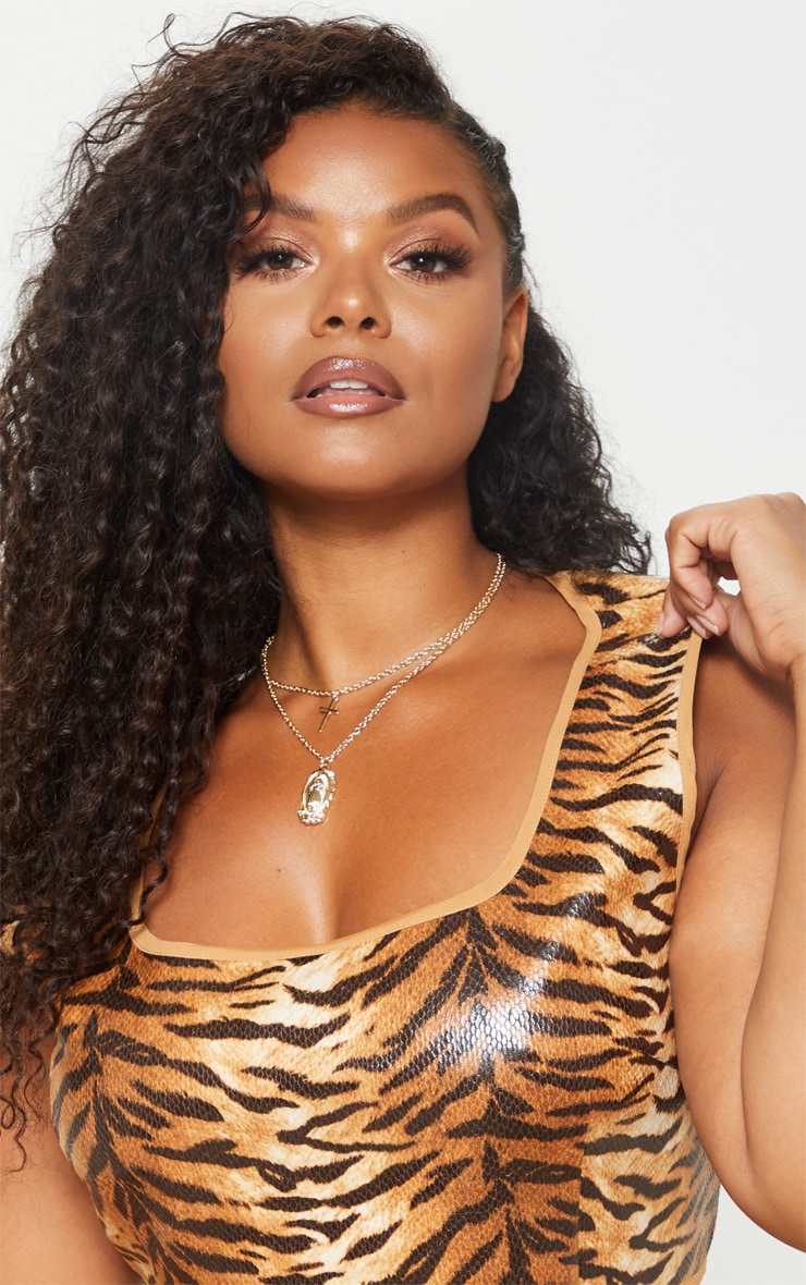 Plus Tiger Print Snake Square Neck Crop Top 5