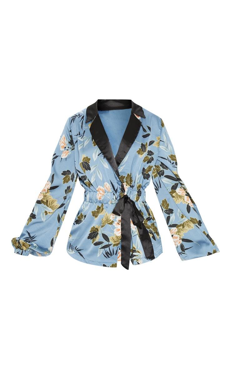Blue Satin Floral Print Gathered Waist Collar Shirt 3