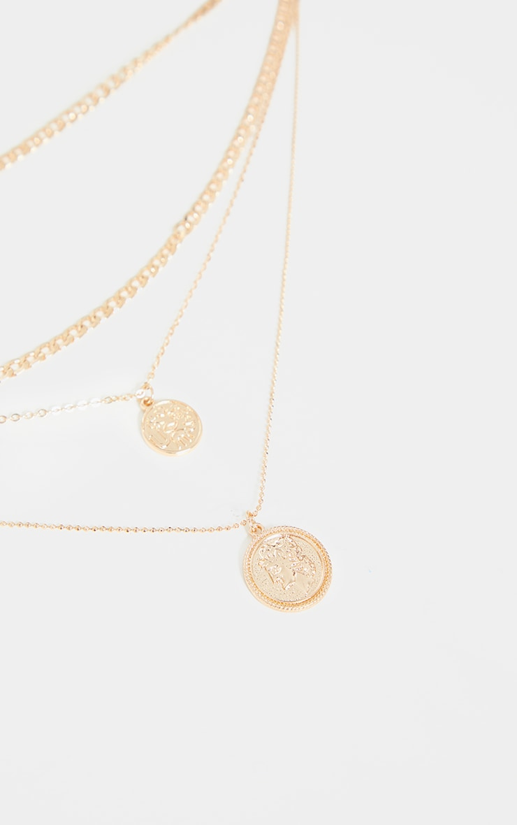 Gold Round Double Pendant Layering Necklace 4