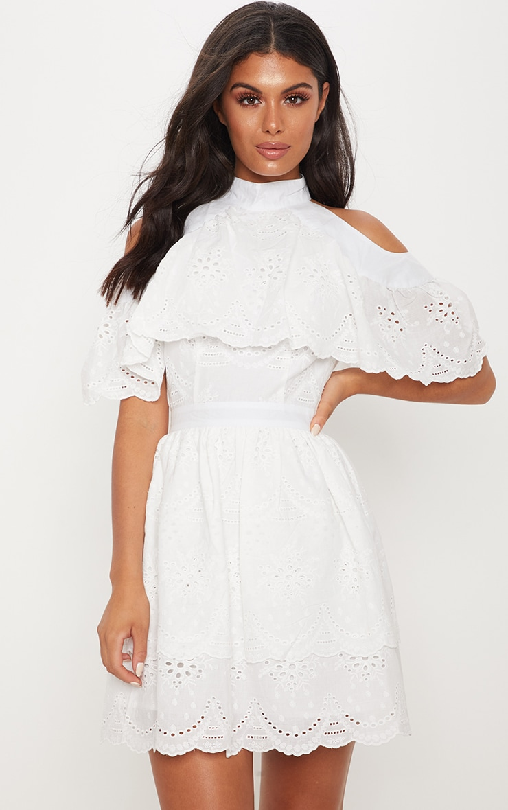 White Broderie Anglaise Cold Shoulder Skater Dress