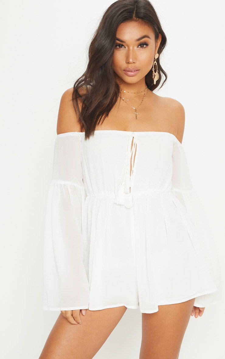 White Chiffon Flared Sleeve Playsuit 1