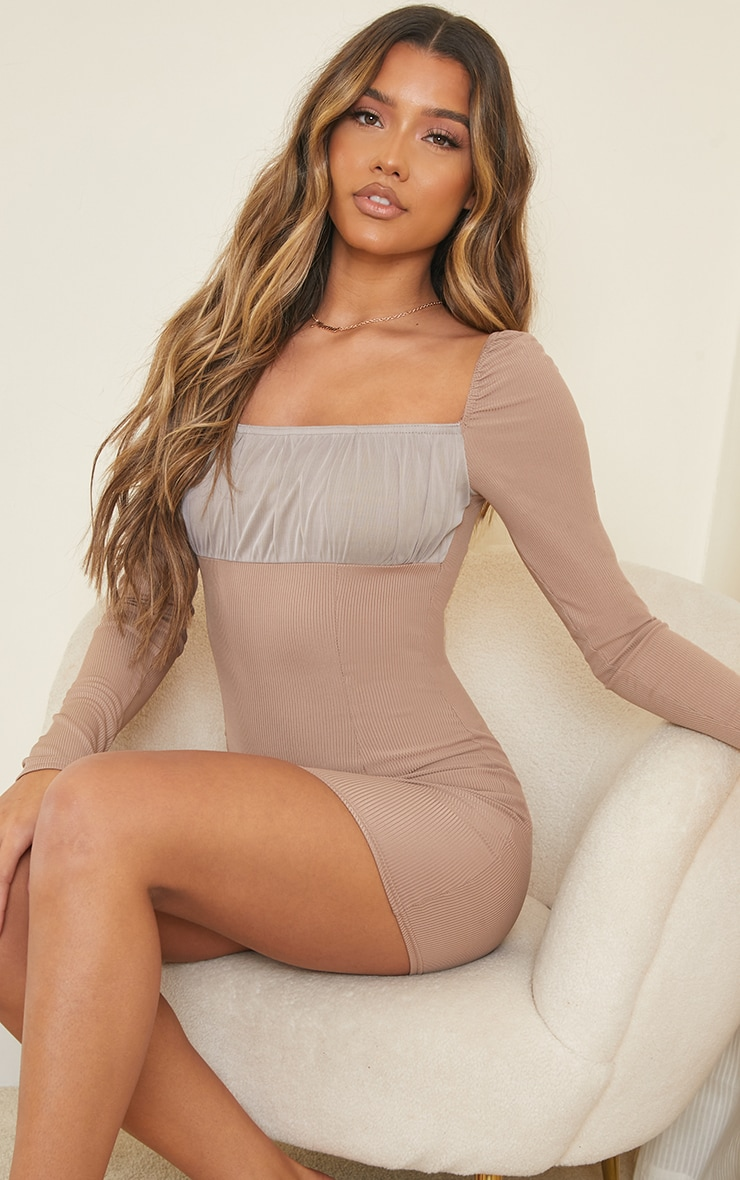 Taupe Ribbed Mesh Ruched Bust Panel Bodycon Dress 1