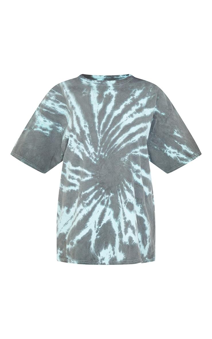 Green Tie Dye Print Oversized T Shirt 5