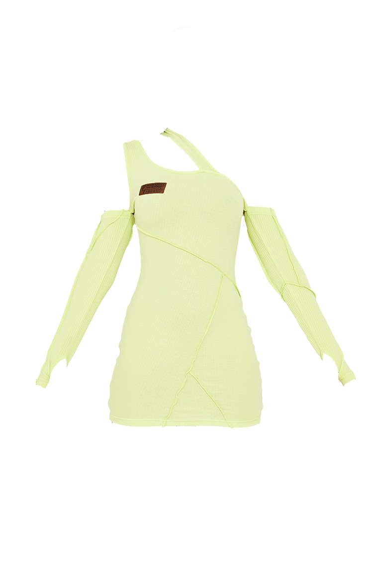 PRETTYLITTLETHING Lime Rib Binding Detail Cold Shoulder Bodycon Dress 5