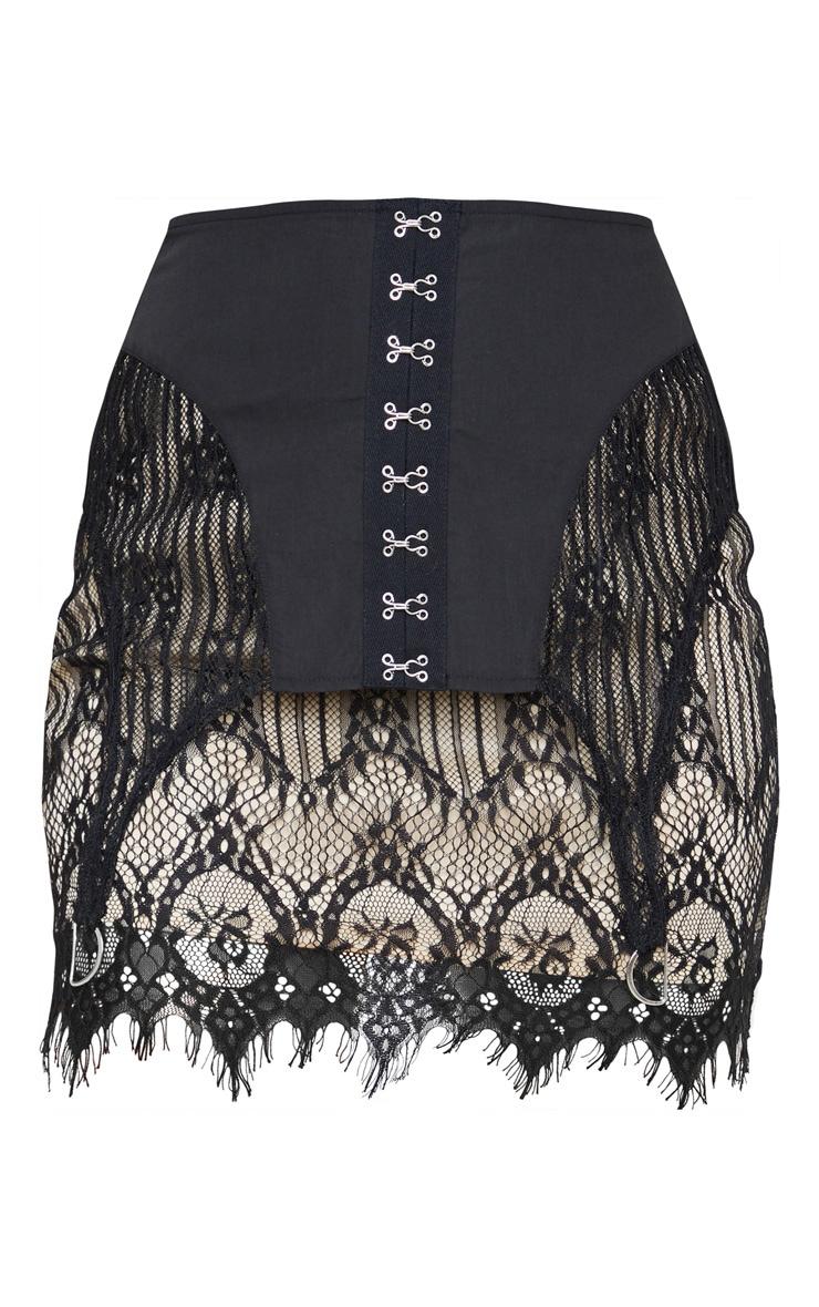 Black Lace Corset Detail Mini Skirt 3