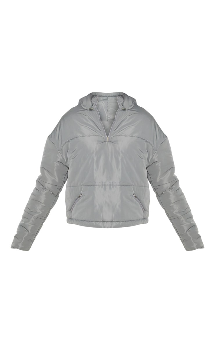 Charcoal Grey Hooded Pullover Puffer Jacket 4