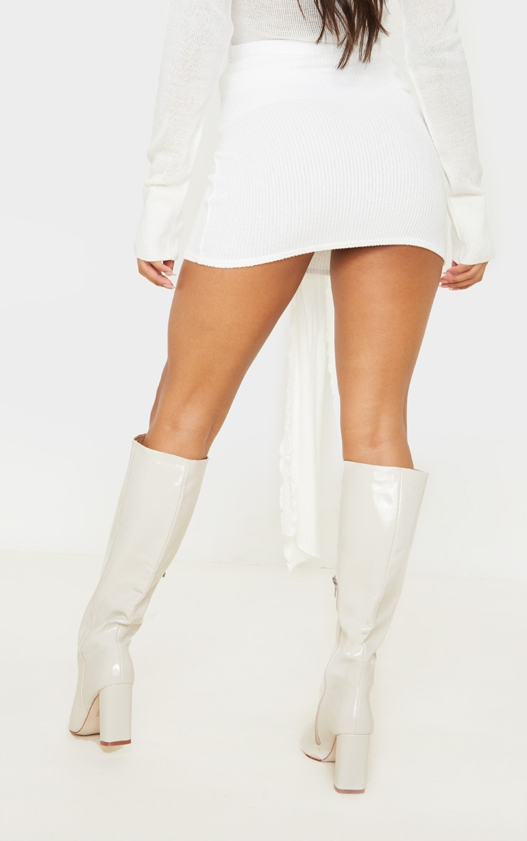 Cream Brushed Rib Extreme Tie Mini Skirt 4