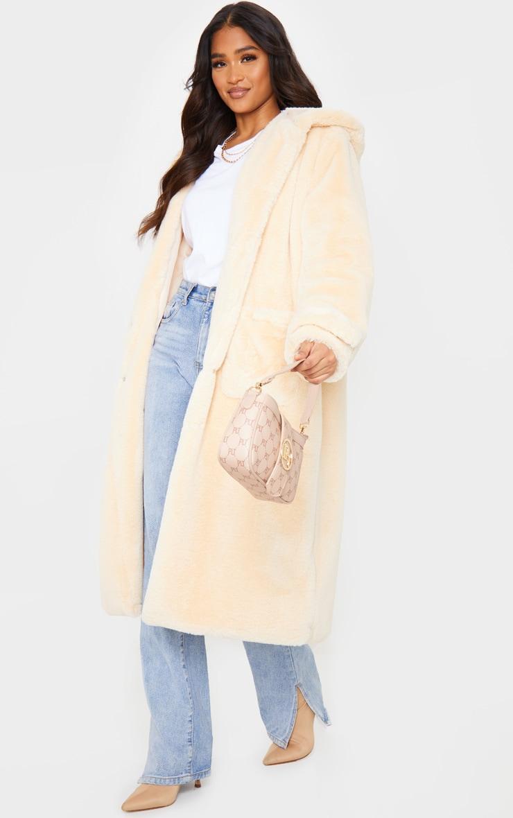 Beige Hooded Faux Fur Military Coat 1