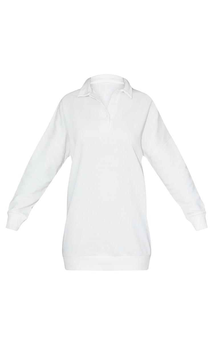 Ecru Polo Collar Detail Button Up Jumper Dress 5