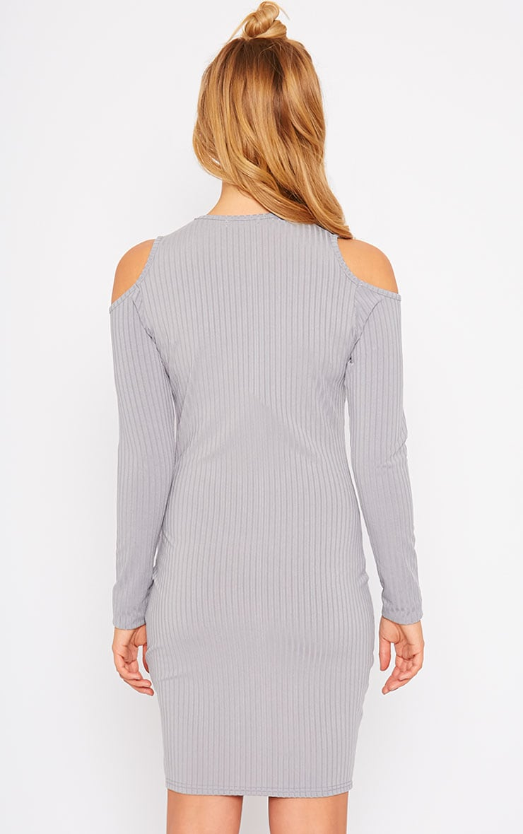 Tocarra Grey Rib Cut Out Shoulder Dress 2