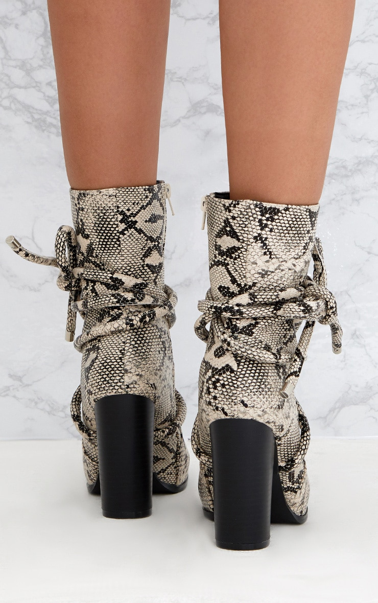 Grey Snake Print Tie Detail Heeled Ankle Boots 4