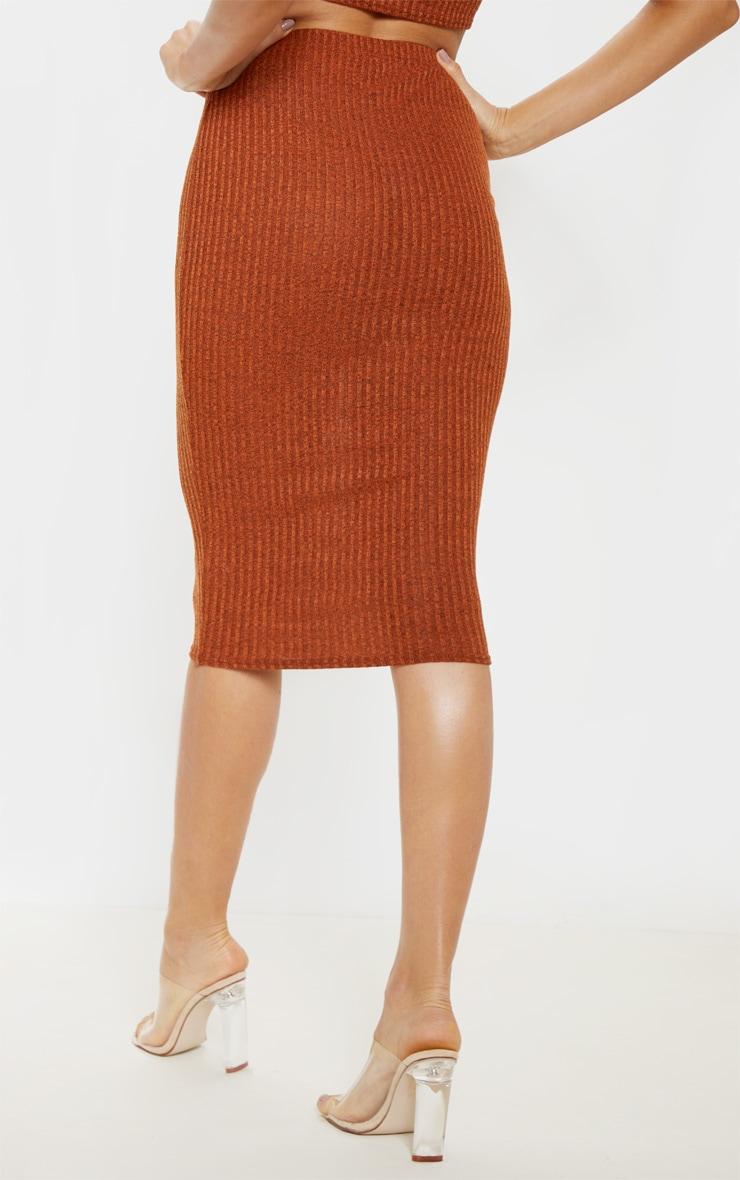 Orange Knitted Ribbed Midi Skirt  4