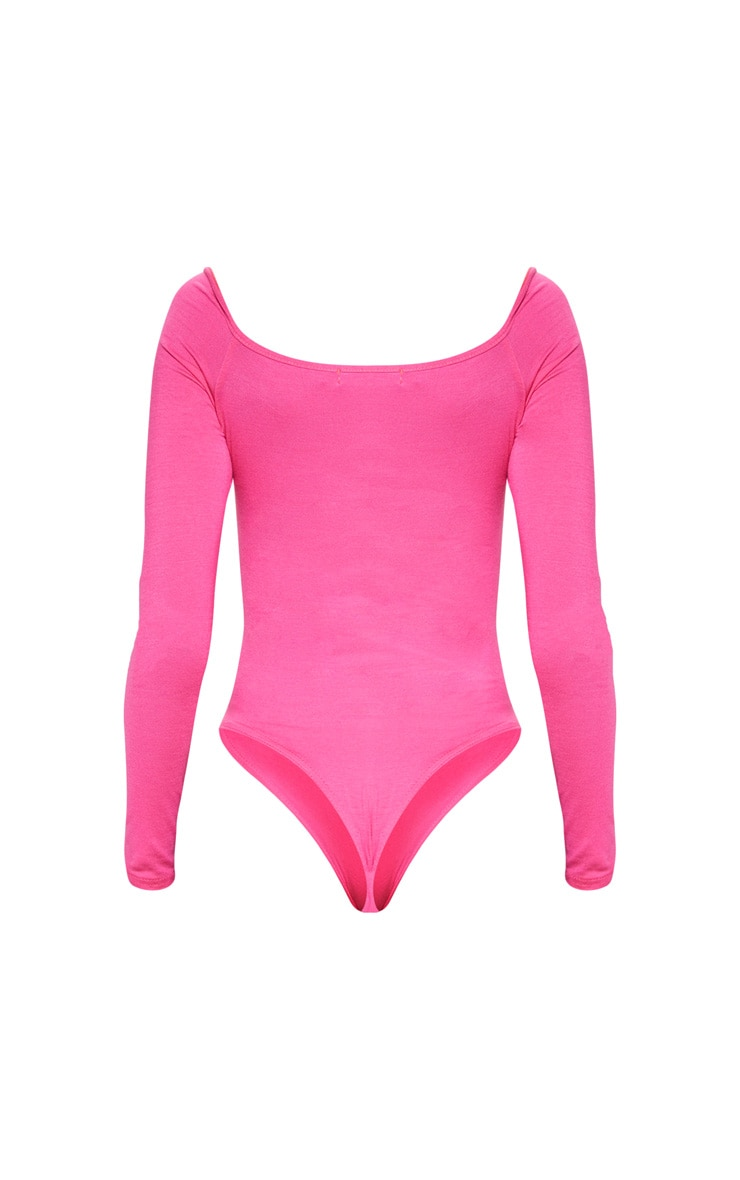 Hot Pink Jersey Lace Up Puff Sleeve Bodysuit 4