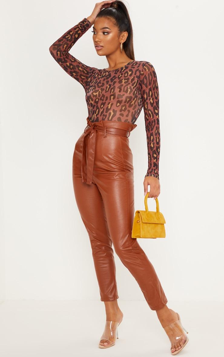 Brown Leopard Mesh Long Sleeve Bodysuit 5