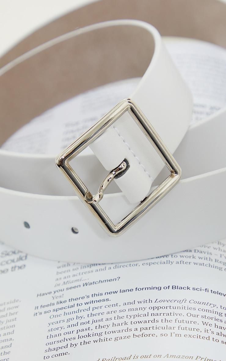 White Basic Square Buckle Belt 2