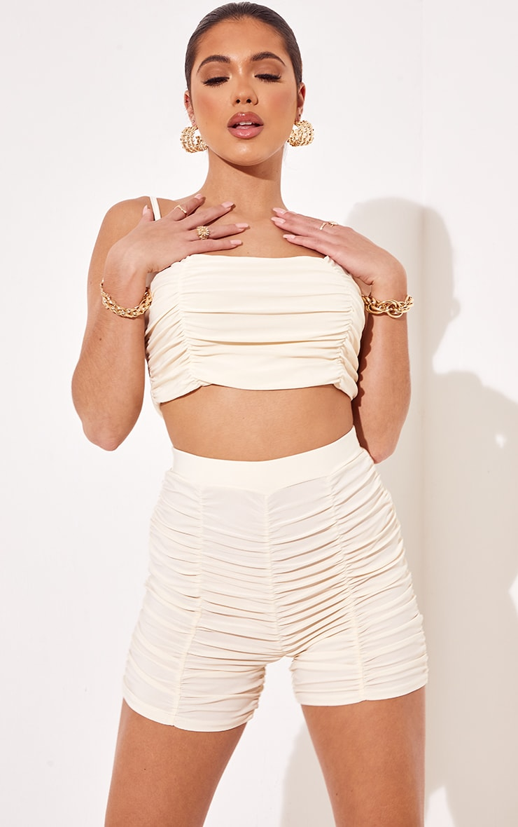 Cream Slinky Ruched Detail Cycle Shorts 4