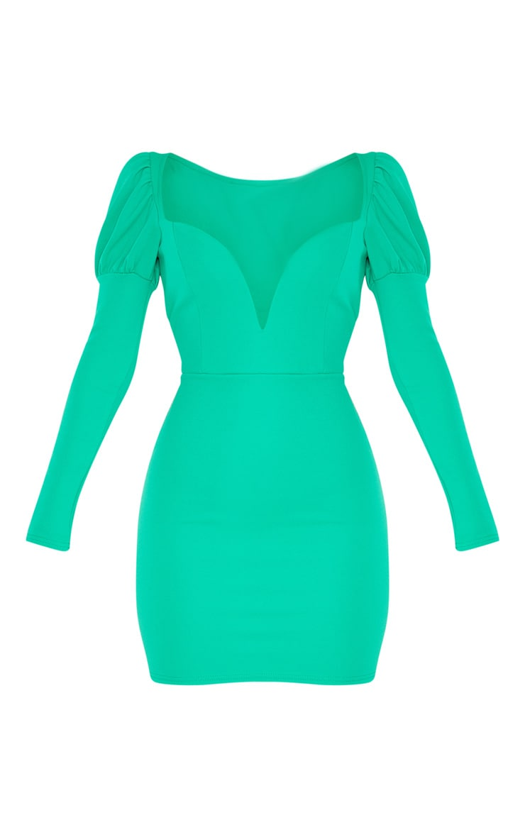 Green Puff Shoulder Deep Plunge Bodycon Dress 3
