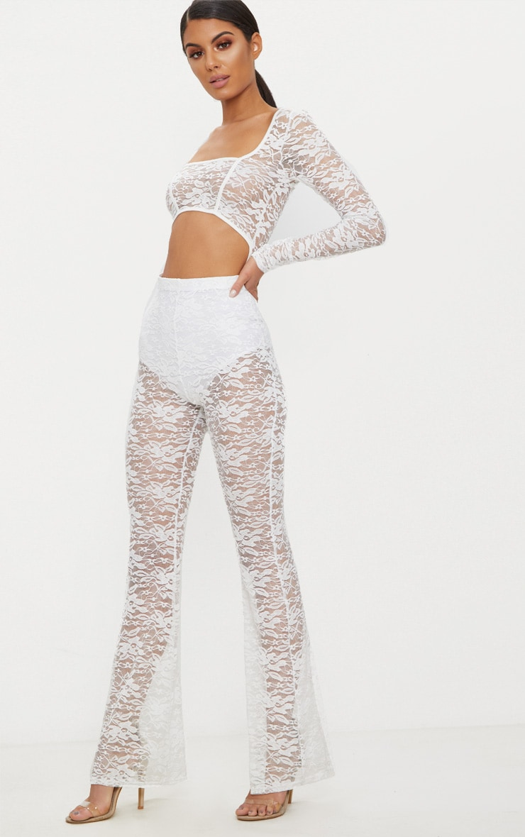 White Lace Long Sleeve Binded Jumpsuit 4
