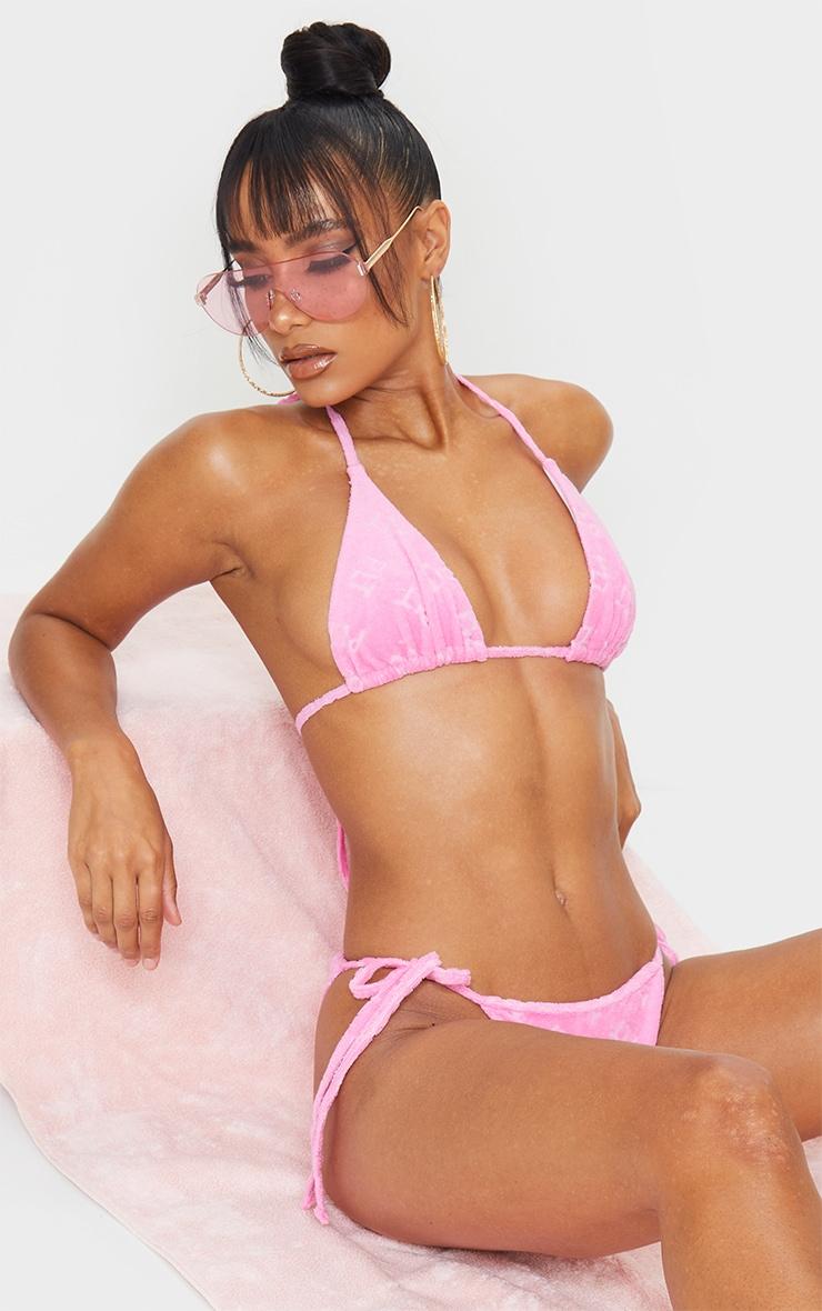 PRETTYLITTLETHING Pink Embossed Towel Bikini Top 5