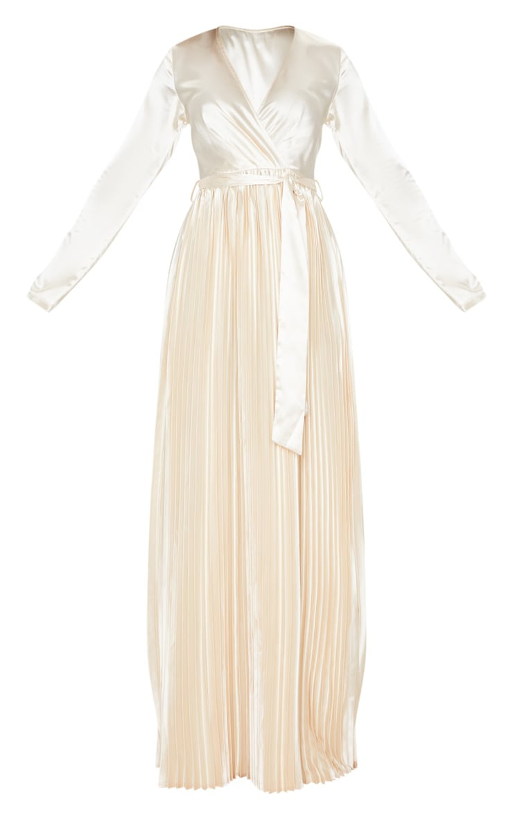 Champagne Satin Pleated Maxi Dress 3
