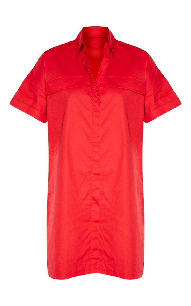 Red Oversized Utility Shirt Dress 3