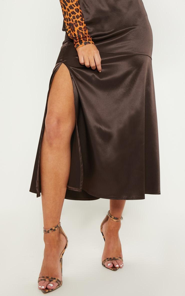 2cb45e7eb949 Chocolate Satin Asymmetric Skirt   Skirts   PrettyLittleThing