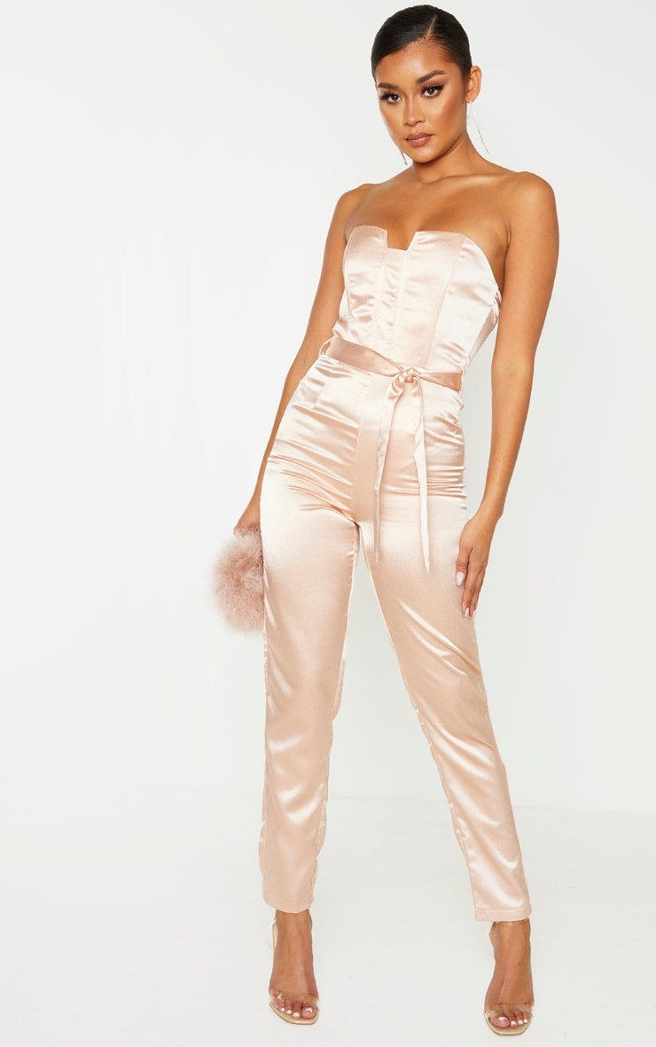 Dusty Pink Corset Detail Tie Waist Satin Jumpsuit 1