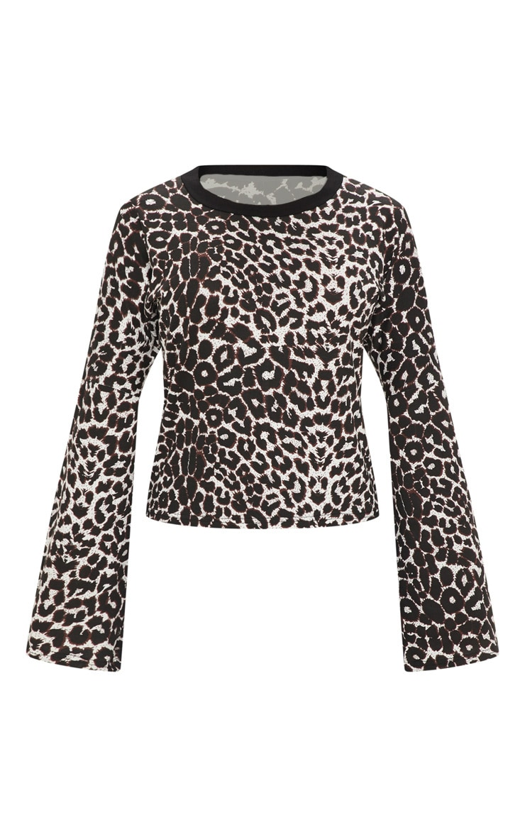 Petite Tan Flared Sleeve Leopard Print T-Shirt 3