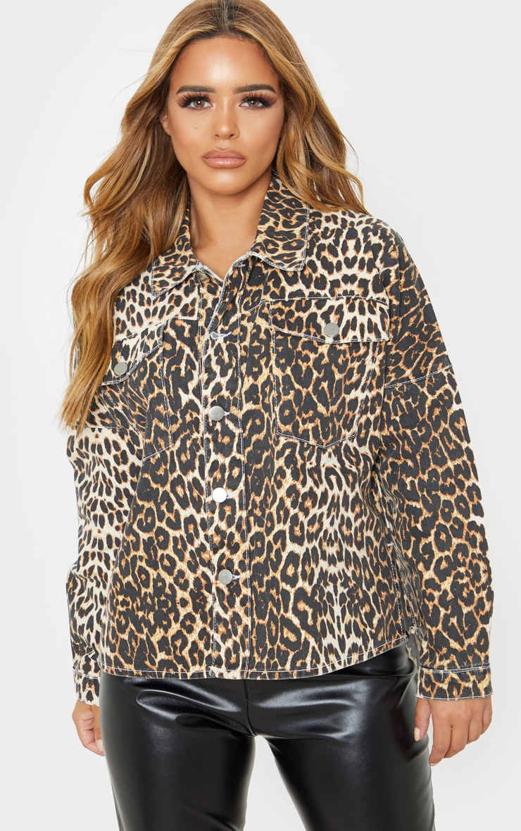 Petite Tan Leopard Oversized Denim Shirt 1