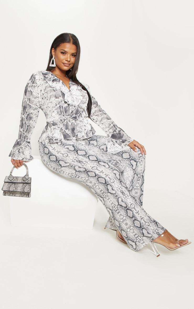 Plus Grey Snake Print Wrap Blouse 4