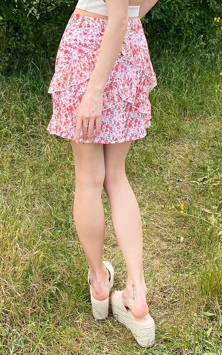 Peach Chiffon Floral Frill Hem Mini Skirt 3