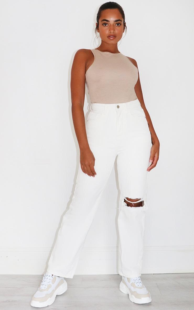 Petite White Open Knee Leg Straight Jean 1