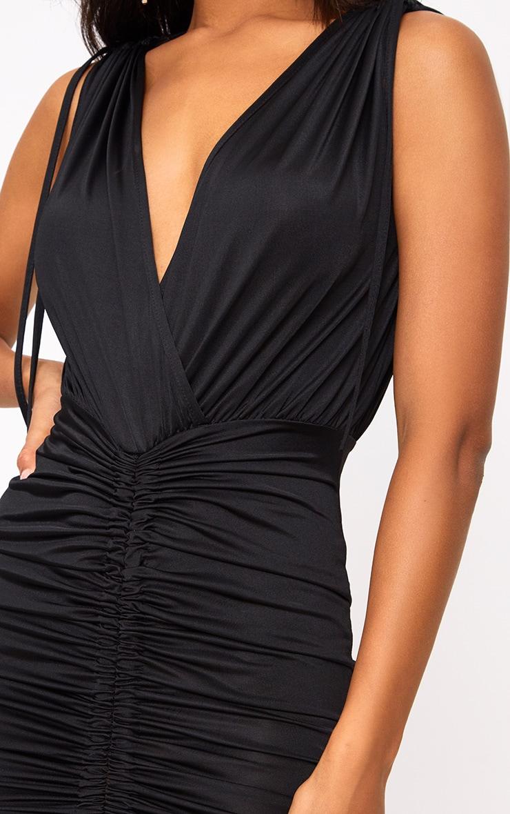 Black Plunge Ruched Detail Bodycon Dress 5