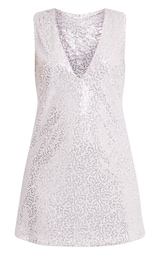 Piah Silver Plunge V Neck Sequin Shift Dress - Dresses ... e7958a007