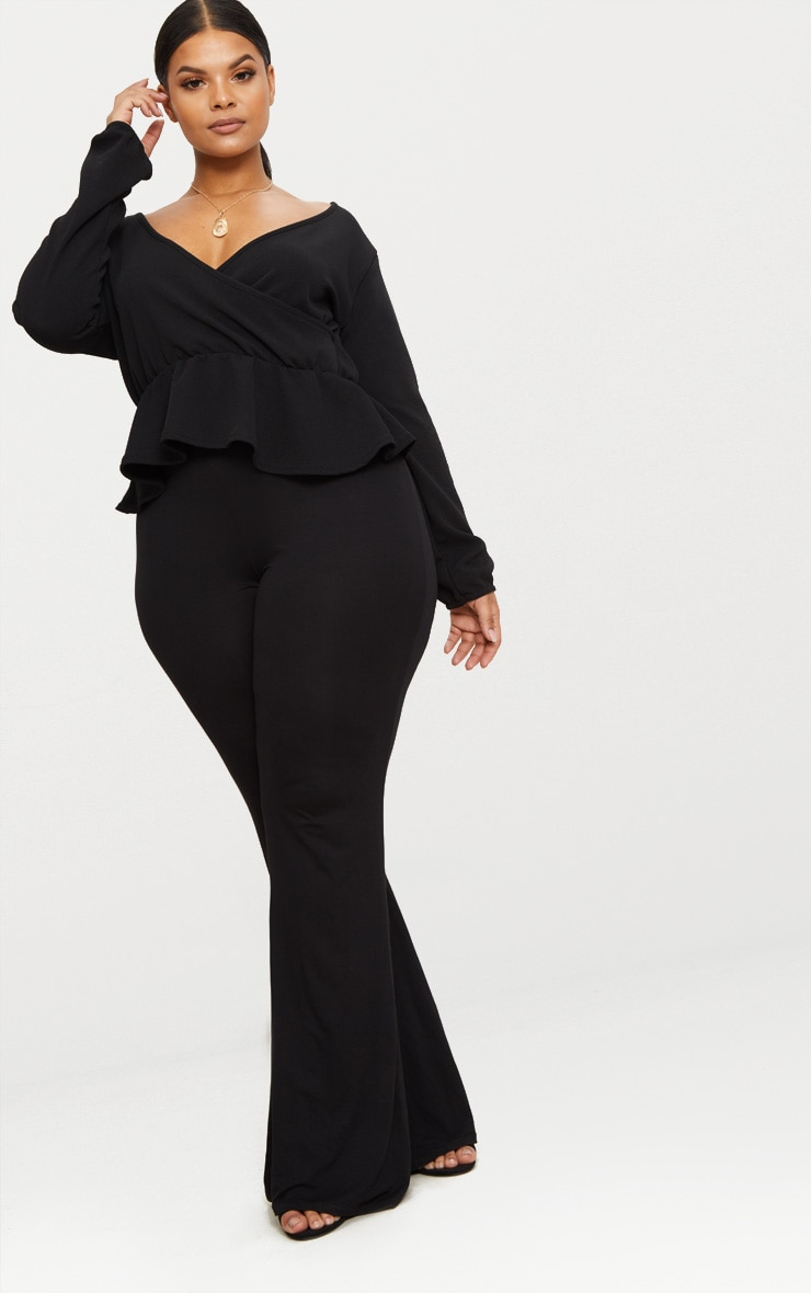Plus Black Plunge Frill Hem Top 4