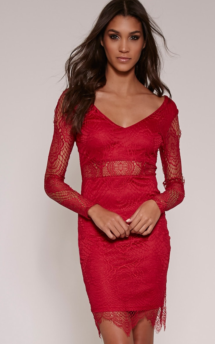 Lynda Wine Scalloped Lace Midi Dress 1