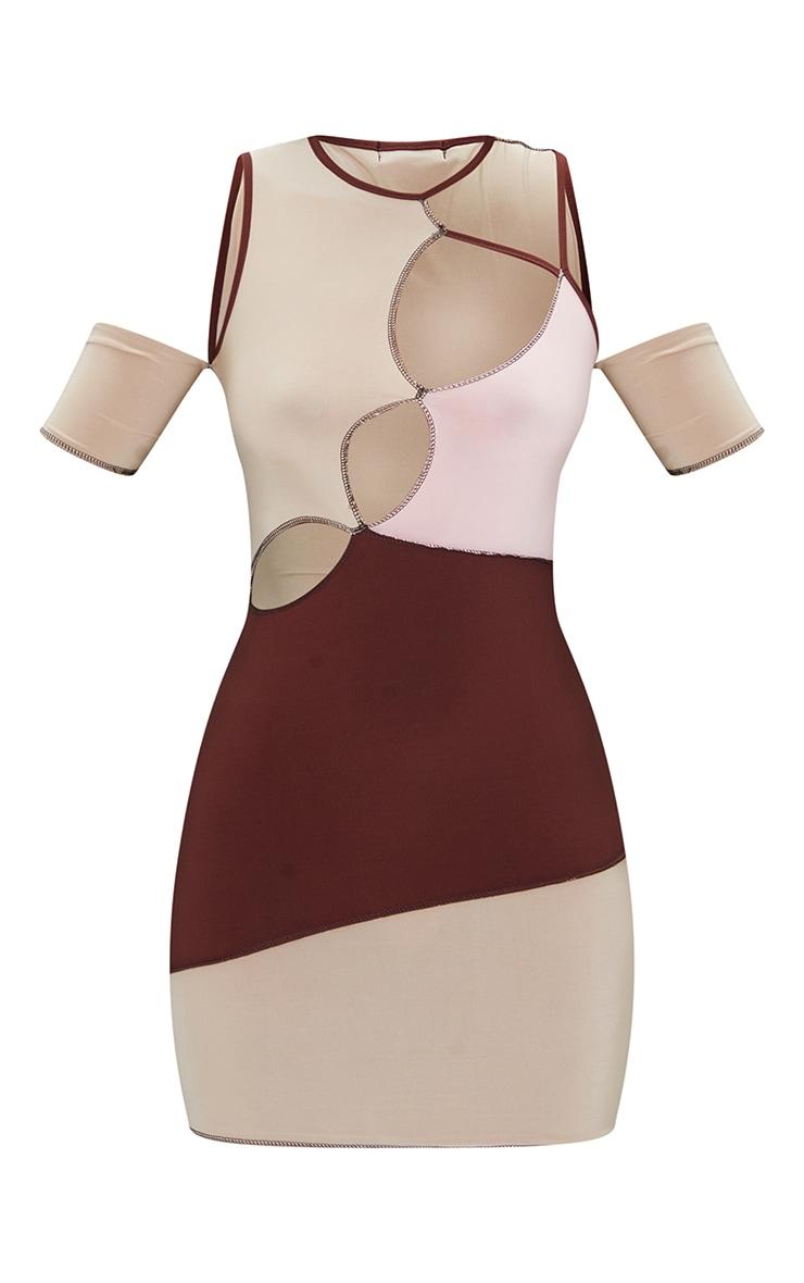 Nude Slinky Contrast Panel Overlock Stitch Cut Out Bodycon Dress 5