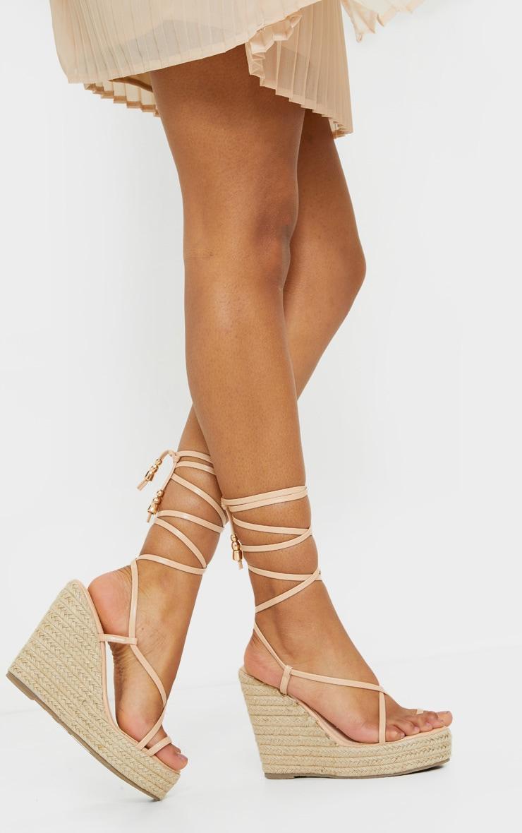 Nude Toe Loop Ankle Tie Espadrille Wedges 2