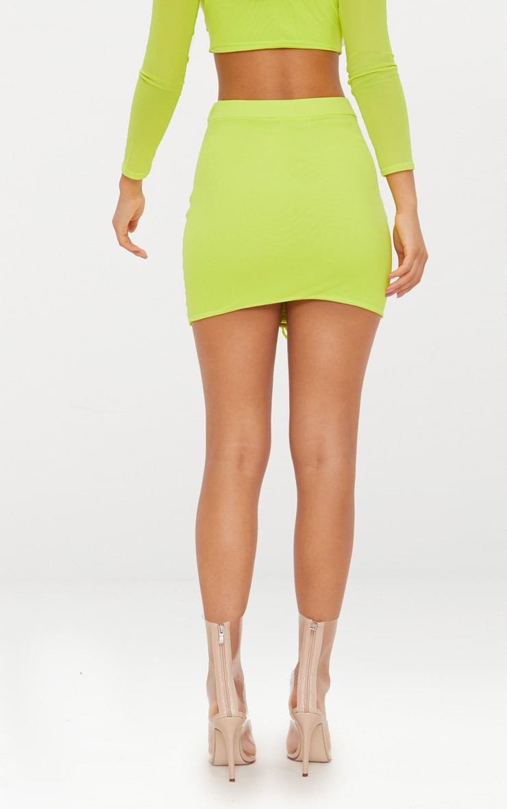 Lime Mesh Ruched Front Mini Skirt  4