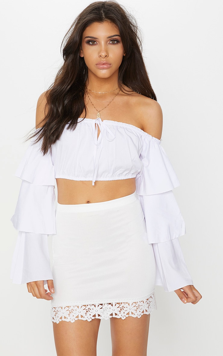 White Crochet Trim Detail Mini Skirt