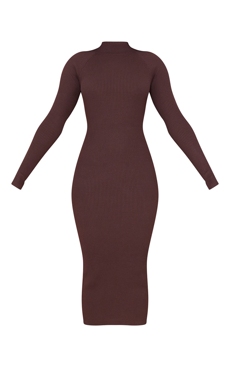 Chocolate Turtle Neck Knitted Bodycon Maxi Dress 5