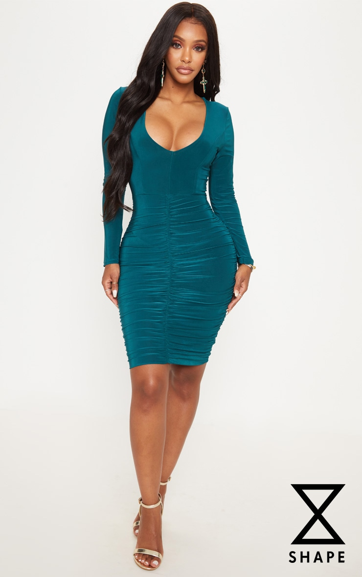 Shape Emerald Green Ruched Slinky Mini Dress
