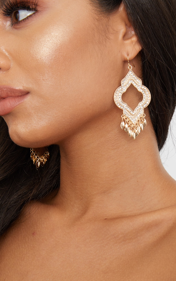 Gold Diamante Leaf Drop Earrings 3