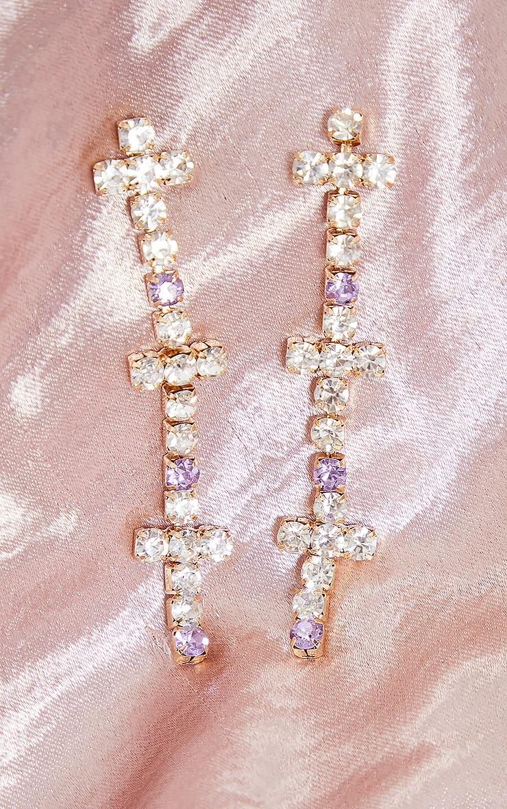 Boucles d'oreilles à frange de croix strassées argentées 2